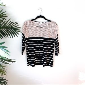 ANTHROPOLOGIE 9-H15 STCL 3/4 Sleeve Combo Tee